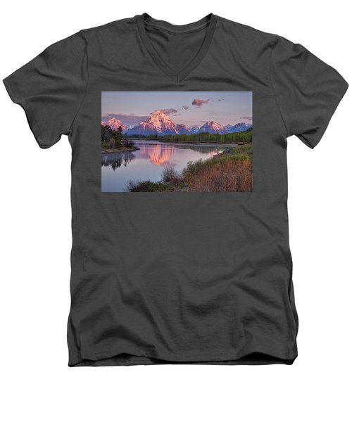 Alpenglow At Oxbow Bend Men's V-Neck T-Shirt