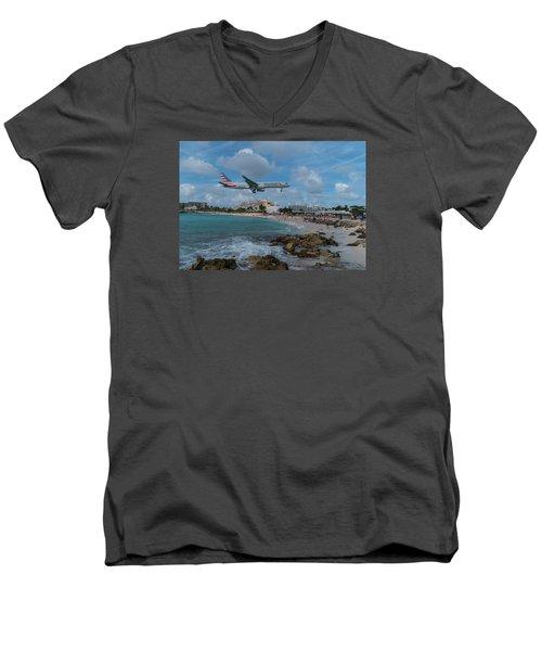 American Airlines Landing At St. Maarten Men's V-Neck T-Shirt by David Gleeson