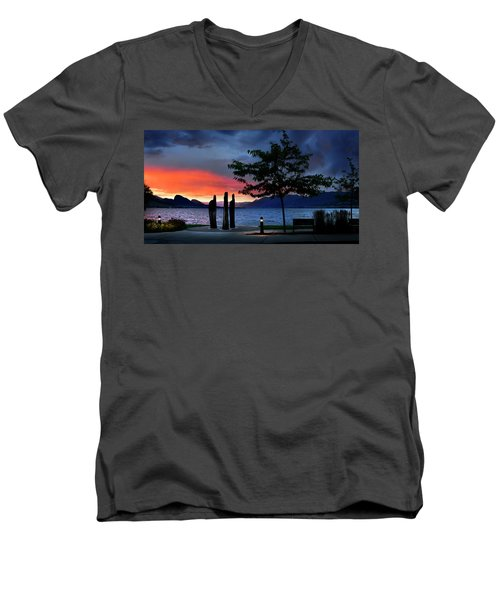 Men's V-Neck T-Shirt featuring the photograph A Sunset Story by John Poon