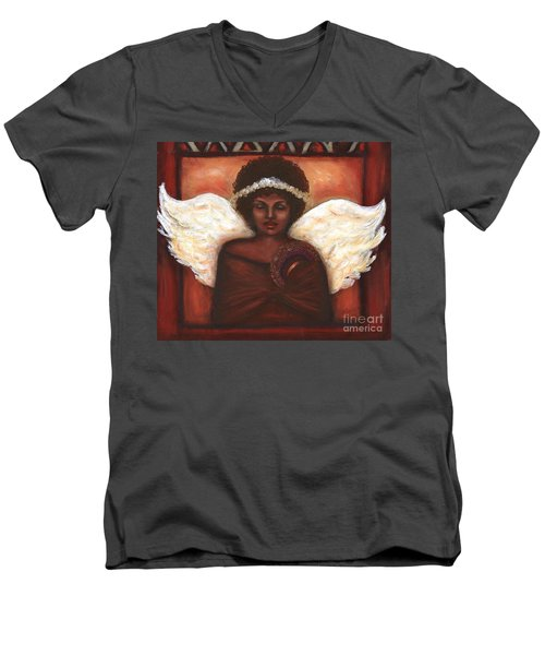 Men's V-Neck T-Shirt featuring the mixed media Angel by Alga Washington