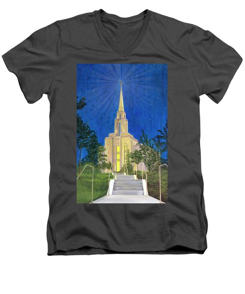 Men's V-Neck T-Shirt featuring the painting Angel Portal by Jane Autry