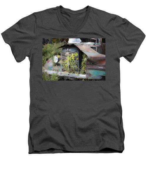 Men's V-Neck T-Shirt featuring the photograph Antique Mack Truck by Charles Harden