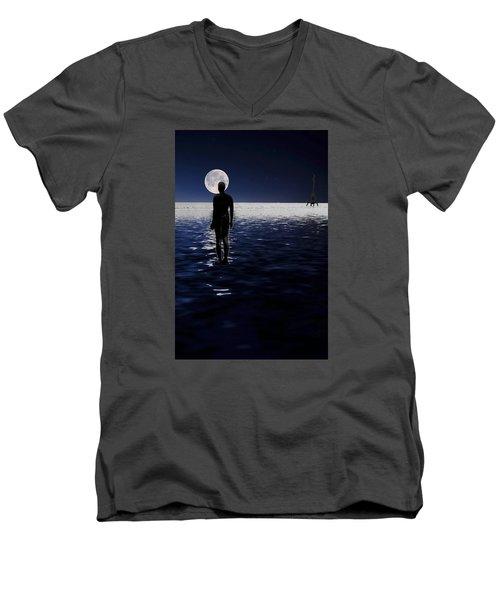 Antony Gormley Statues Crosby Men's V-Neck T-Shirt by David French
