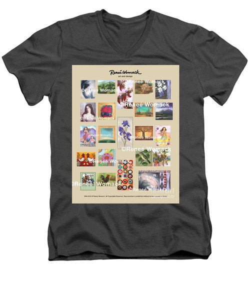 Men's V-Neck T-Shirt featuring the painting Art Collection by Renee Womack