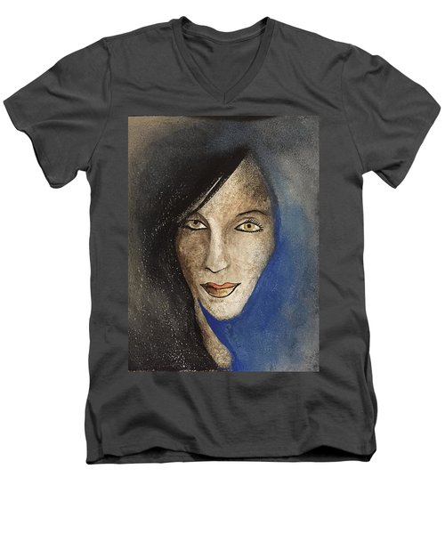 Men's V-Neck T-Shirt featuring the mixed media Ash  by Steve  Hester
