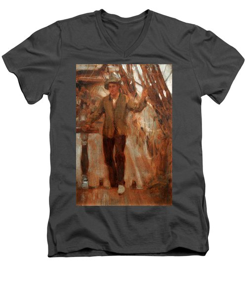 Men's V-Neck T-Shirt featuring the painting At The Break Of The Poop  by Henry Scott Tuke