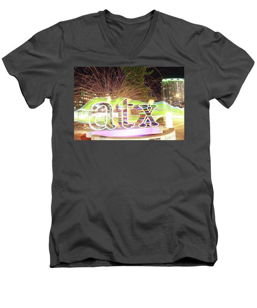 atx Men's V-Neck T-Shirt by Andrew Nourse