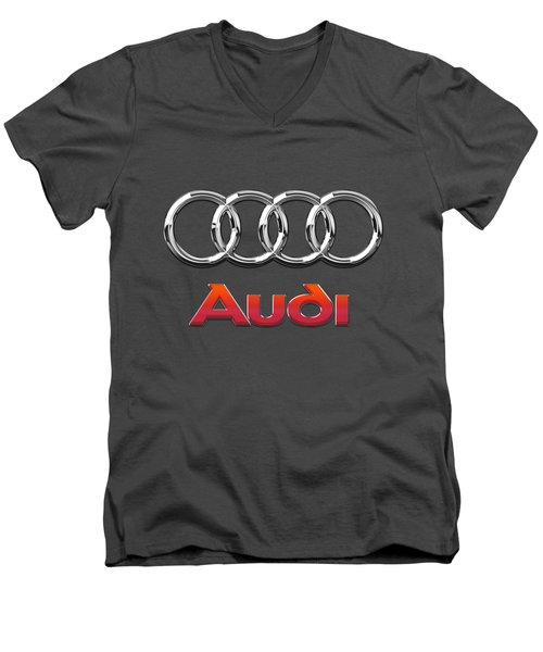 Audi - 3d Badge On Red Men's V-Neck T-Shirt by Serge Averbukh