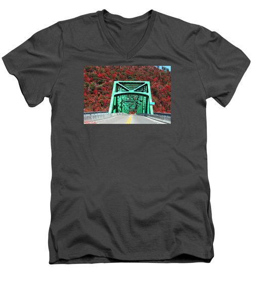 Autumn Bridge Men's V-Neck T-Shirt by Michael Rucker