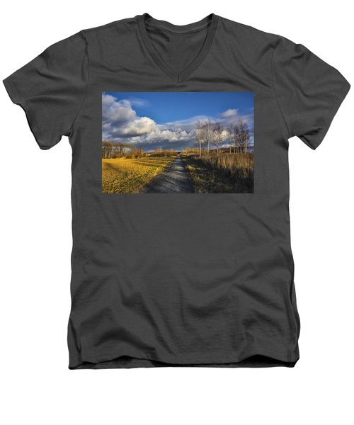 Men's V-Neck T-Shirt featuring the photograph Autumn Evening by Vladimir Kholostykh