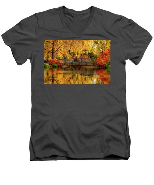 Autumn In The Park Men's V-Neck T-Shirt by Teri Virbickis
