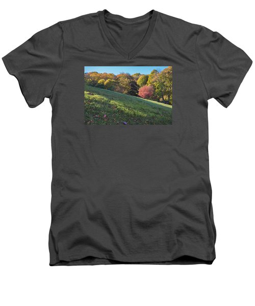 Men's V-Neck T-Shirt featuring the photograph Autumn Palette by Tom Singleton