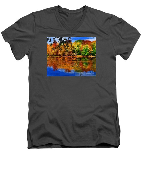 Autumn Serenity Painted Men's V-Neck T-Shirt by Diane E Berry