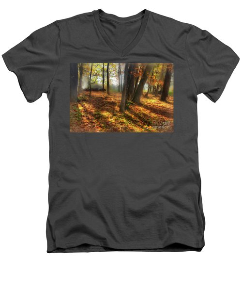 Men's V-Neck T-Shirt featuring the painting Autumn Shadows In The Blue Ridge Ap by Dan Carmichael