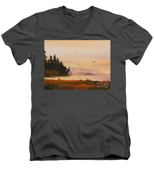 Men's V-Neck T-Shirt featuring the painting Autumn Shore by James Williamson