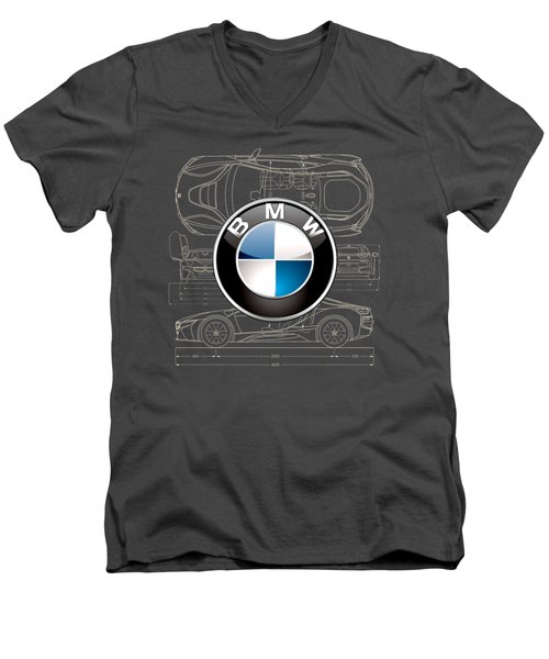 B M W 3 D Badge Over B M W I8 Blueprint  Men's V-Neck T-Shirt by Serge Averbukh