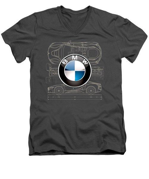 B M W 3 D Badge Over B M W I8 Blueprint  Men's V-Neck T-Shirt