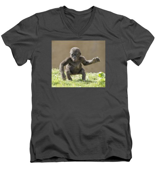 Baby Gorilla Men's V-Neck T-Shirt