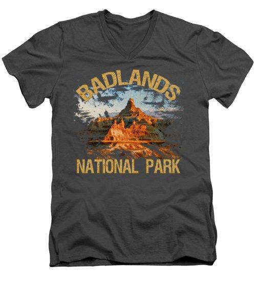 Badlands National Park Men's V-Neck T-Shirt by David G Paul