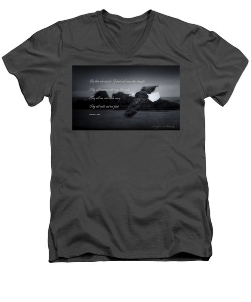 Men's V-Neck T-Shirt featuring the photograph Bald Eagle In Flight With Bible Verse by John A Rodriguez