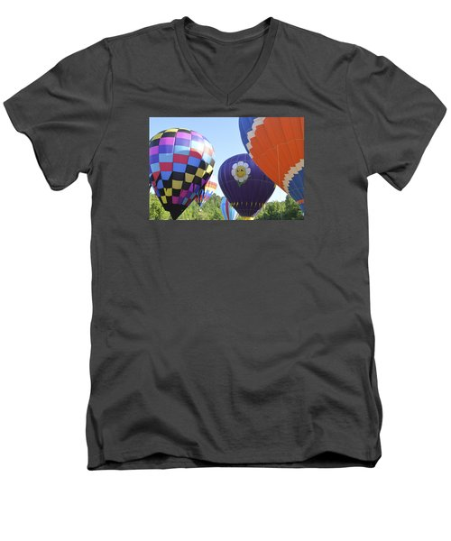 Men's V-Neck T-Shirt featuring the photograph Balloons Waiting For The Weather To Clear by Linda Geiger