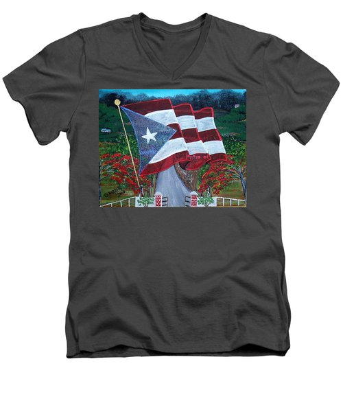 Bandera De Puerto Rico Men's V-Neck T-Shirt