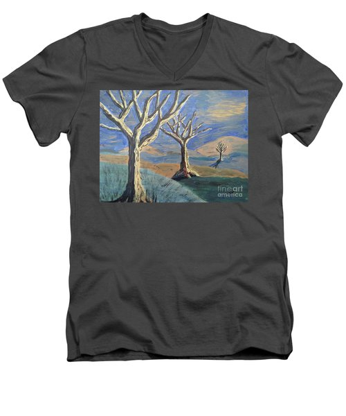 Bare Trees Men's V-Neck T-Shirt by Judy Via-Wolff