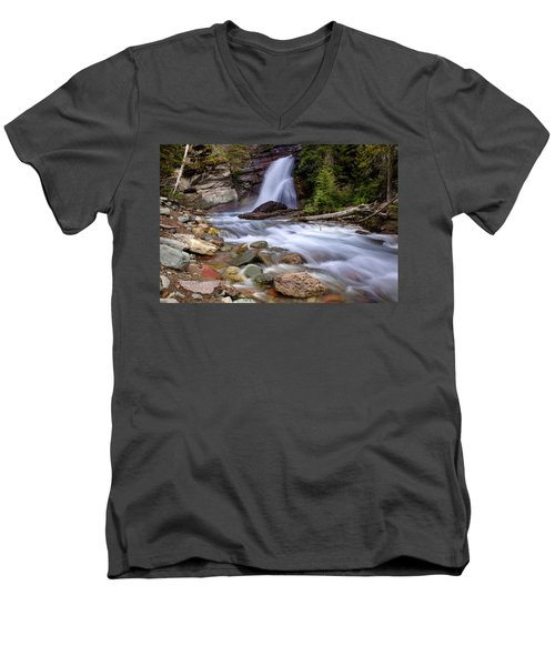 Baring Falls Men's V-Neck T-Shirt by Jack Bell