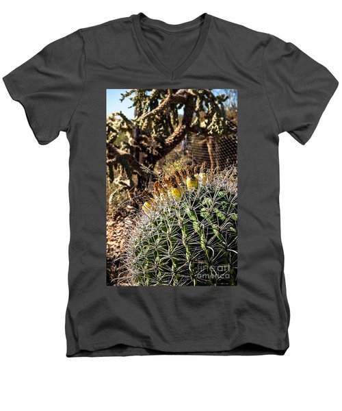Men's V-Neck T-Shirt featuring the photograph Barrel Cactus by Lawrence Burry