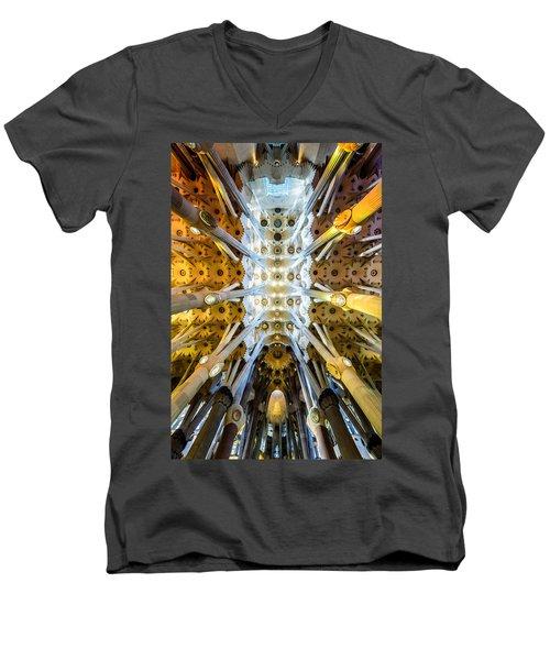 Basilica De La Sagrada Familia Men's V-Neck T-Shirt by Randy Scherkenbach