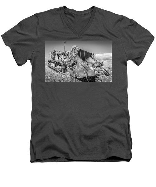 Beach Bulldozer. Men's V-Neck T-Shirt