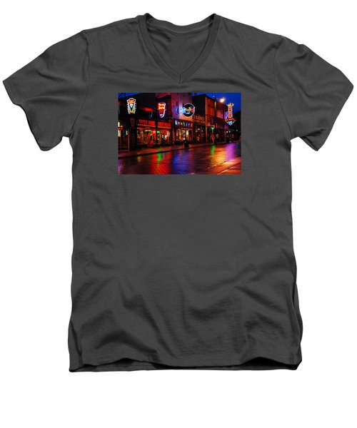 Beale Street Memphis Men's V-Neck T-Shirt by James Kirkikis