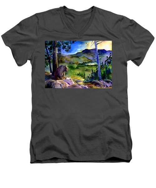 Bearly Light At Castle Peak Men's V-Neck T-Shirt
