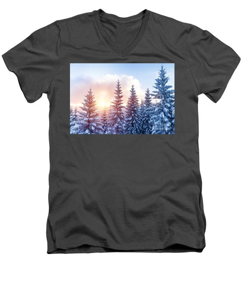 Beautiful Winter Forest Men's V-Neck T-Shirt