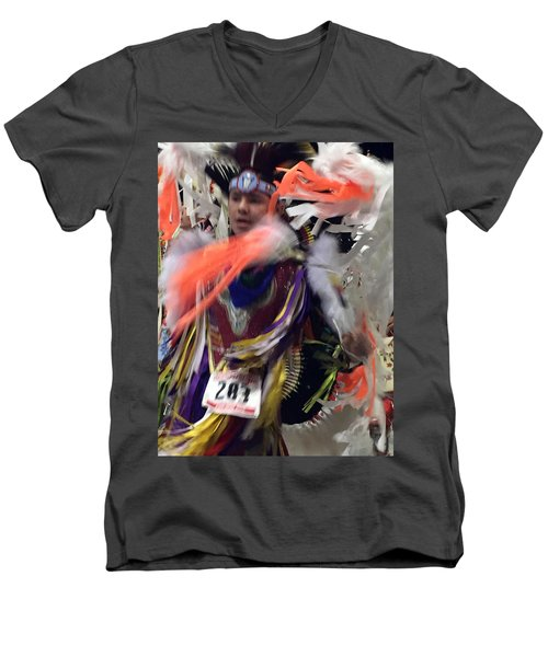 Behind The Feathers Men's V-Neck T-Shirt by Audrey Robillard