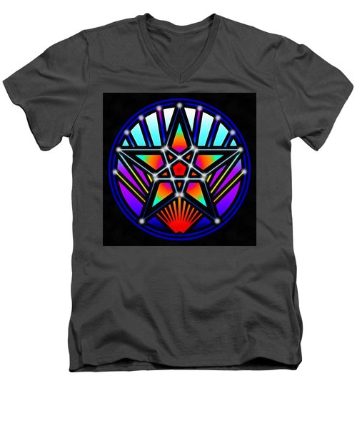 Men's V-Neck T-Shirt featuring the digital art Bending Time by Derek Gedney