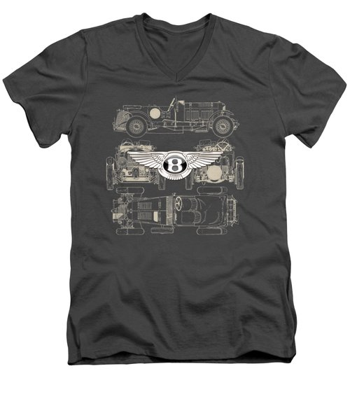 Bentley - 3 D Badge Over 1930 Bentley 4.5 Liter Blower Vintage Blueprint Men's V-Neck T-Shirt by Serge Averbukh