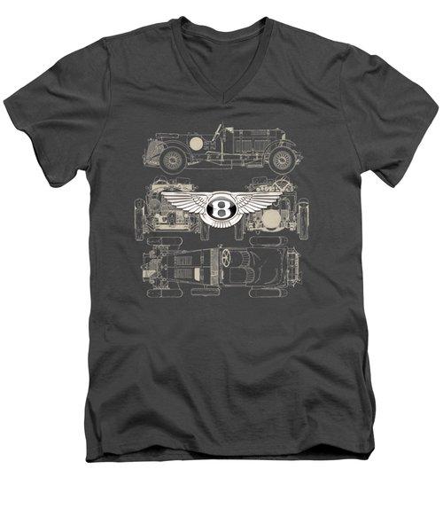 Bentley - 3 D Badge Over 1930 Bentley 4.5 Liter Blower Vintage Blueprint Men's V-Neck T-Shirt by Serge Averbukh