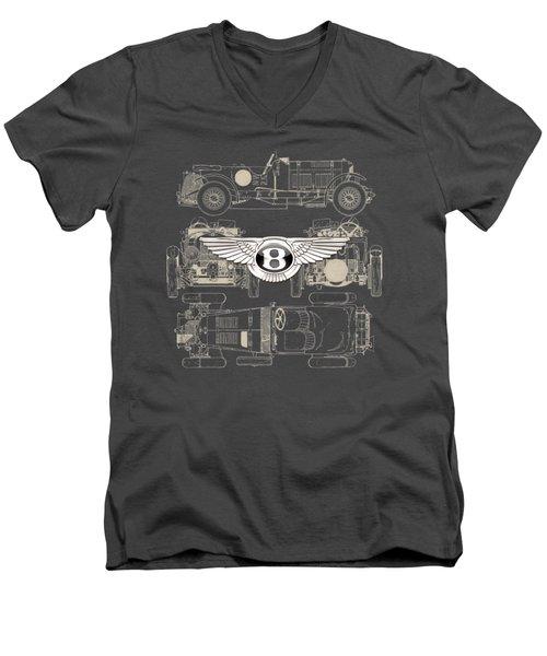 Bentley - 3 D Badge Over 1930 Bentley 4.5 Liter Blower Vintage Blueprint Men's V-Neck T-Shirt