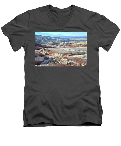 Bentonite Clay Dunes In Cathedral Valley Men's V-Neck T-Shirt by Ray Mathis