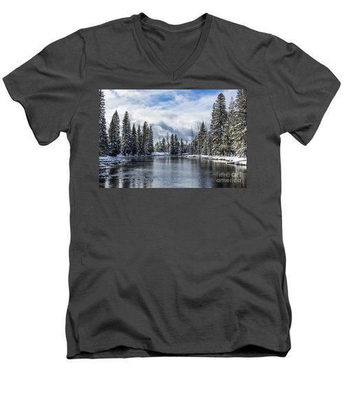 Big Springs In Winter Idaho Journey Landscape Photography By Kaylyn Franks Men's V-Neck T-Shirt