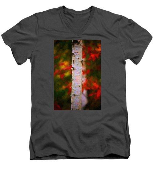 Birch Tree Men's V-Neck T-Shirt by Andre Faubert