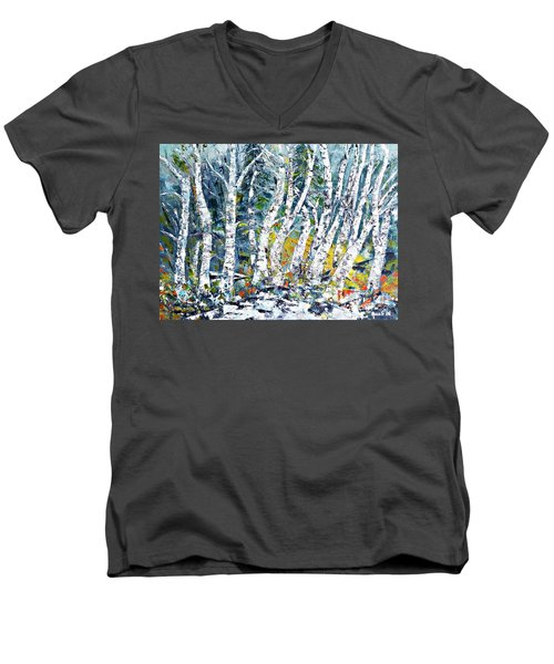 Men's V-Neck T-Shirt featuring the painting Birches Pond by AmaS Art