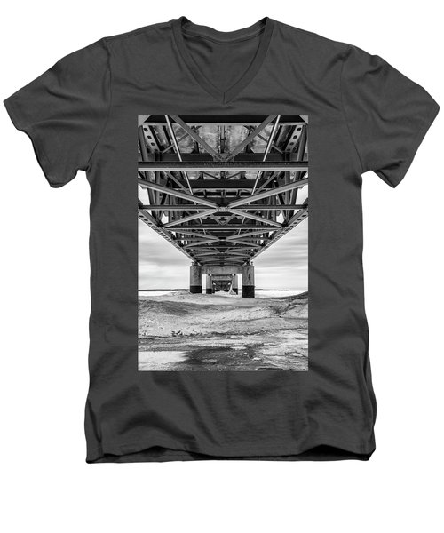 Men's V-Neck T-Shirt featuring the photograph Black And White Mackinac Bridge Winter by John McGraw