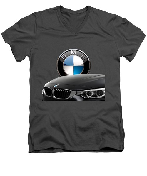 Black B M W - Front Grill Ornament And 3 D Badge On Red Men's V-Neck T-Shirt