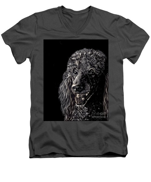 Black Standard Poodle Men's V-Neck T-Shirt