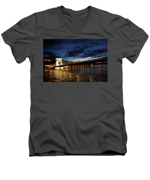 Blue Danube Sunset Budapest Men's V-Neck T-Shirt
