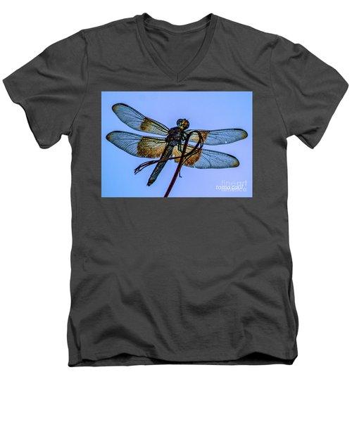 Blue Dragonfly Men's V-Neck T-Shirt by Toma Caul