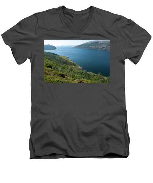 Blue Fjord Men's V-Neck T-Shirt by Tamara Sushko