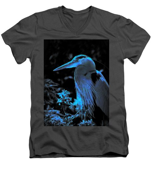 Men's V-Neck T-Shirt featuring the photograph Blue Heron by Lori Seaman